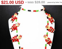 Wood Carved Santa Necklace - Glass Beaded Necklace - Red, White, Green & Black - Safety Pin Jewelry - Swedish Christmas Holiday Jewelry