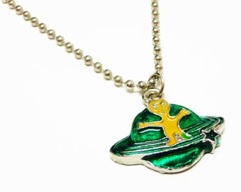 Retro Childrens Necklace - Green & Yellow Saturn Planet, Alien Character - Silvertone Bead Chain