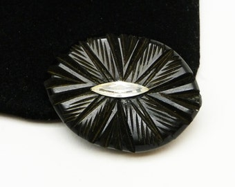 Black Bakelite Dress Clip with Clear Navette Rhinestone - Art Deco Style Mid Century Vintage Jewelry