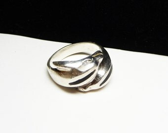 Sterling Silver Dolphin Ring - Wide Band  - Black Inset - Ocean Fish - Mexican Sterling - 925 Silver
