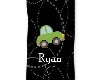 Roadster Kids Personalized Beach Towel 30x60, Personalized Kids Car Towel, Little Boy Car Towel, Custom Monogrammed Childrens Birthday Towel