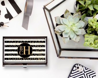 Glam Stripes Custom Personalized Business Card Holder Business Card Case, Busiiness Card Case, Monogrammed Business Card Case