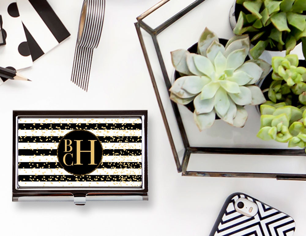 Glam Stripes Custom Personalized Business Card Case, Personalized ...
