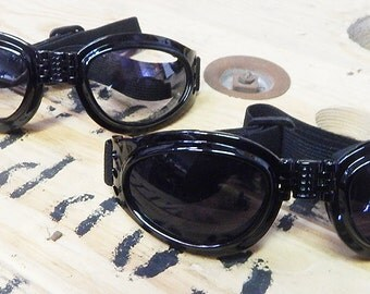 BURNING MAN SPECIAL - 2 Pair of Black Comfy Cushioned 'Folding' Playa Safe Riding Goggles- 1 Day Pair, 1 Night Pair