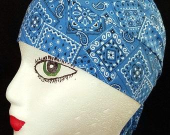 Turquoise Bandana Skull Cap or Chemo Cap, Hat, Surgical Cap, Do Rag, Hair Loss, Helmet Liner, Head Wrap, Motorcycle, Handmade, Alopecia, Cap