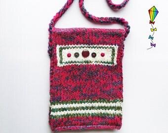 Foxglove Button Bag - Knitted Shoulder Bag / Handbag / Satchel / Tote / Purse