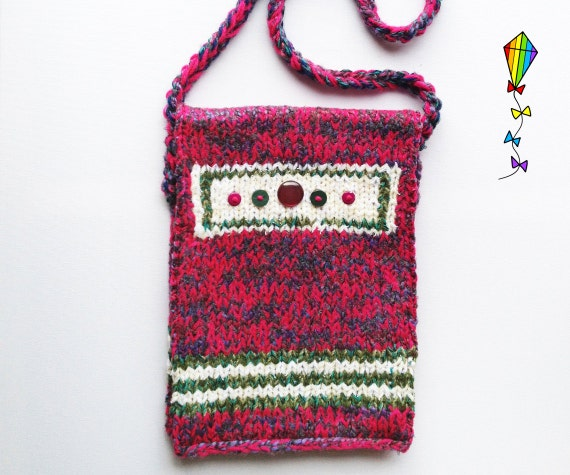 Foxglove Button Bag - Knitted Shoulder Bag / Handbag / Satchel / Tote / Purse