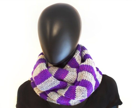Lunar Stripy Snood - Chunky Scarves Super Cosy Grey & Purple Cowl Scarf - Grey and Purple Chunky Striped Knitted Infinity Scarf for Winter