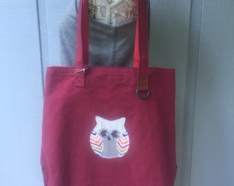 Red Two toned cotton shopper bag