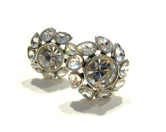 Vintage Clear Rhinestone Earrings Wedding Jewelry Crystal Clear Round Silver Earrings Bridal Jewelry Designer Jewelry