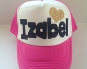 Kids Trucker Hat Custom name hat glitter girls personalized hat with glitter heart hipster kids surfer hat baseball hat girls birthday hat
