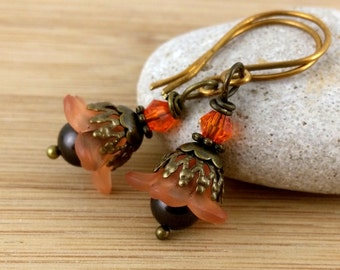 Orange and Brown Lucite Flower Earrings. Chocolate Pearl Earrings. Orange Earrings. Pumpkin Spice. Fall Flowers. Autumn. Antique Bronze.