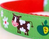 On the Farm Dog Collar, Green Pet Collar, Adjustable Ribbon Collar, Pig, Cow, Animal Dog Collar