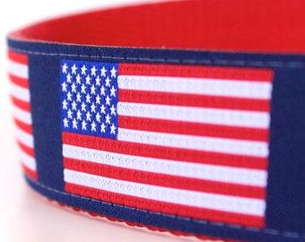 US Flag Dog Collar, 1 inch width Pet Collar, Big Dog, Patriotic Collar, July 4th, Red White & Blue