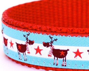 Winter Deer Dog Collar, Turquoise Pet Collar, Holiday Christmas Collar, Reindeer Dog Collar