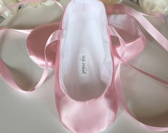 Pink Satin Ballet Slippers -Baby Girl, Toddler Girl - Flower Girl Shoes