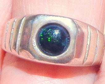 Sz 9, Black Welo Opal, Natural Gemstone, Man's Ring,Heavy Sterling Silver,Gothic Jewellry,Edwardian Gem Ring,Mystical Stone Ring