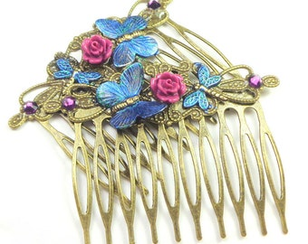 Beautiful Pink Fushia Rose, Blue Butterfly, Brass Hair Combs, Vintage Style, Hair Accessories,Flower Girl,Brides maid, Prom Hair, OOAK