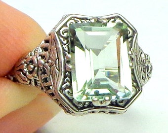 Natural, 2ct Green Amethyst, Filigree Ring, Sterling Silver, Vintage Estate Ring, Natural Gemstone, Victorian Jewelry