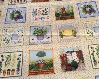 A Beautiful Herb Garden Patch Quilting Cotton Fabric BY The Yard Free US shipping
