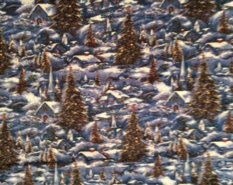 A Beautiful Winter Village Cottages And Churches In A Winter Wonderland Fabric BTY Free US Shipping