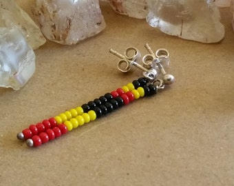 Australian Indigenous Colours Black Gold and Red Modern Tribal Earrings