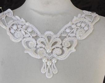 Cute venice applique  white  color with sparkles 1 pieces listing