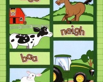 1 Yard JOHN DEERE Panel Cotton Fabric, farm animals, john deere fabric, john deere panel, john deere nursery, john deere baby panel