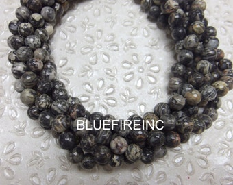 48 pcs beads Faceted Round 8mm  Black Grey Picture Jasper in full strand