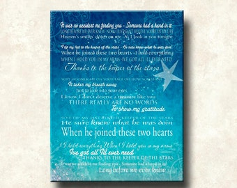 Keeper of The Stars -  Motivational Print - 18x24 Gallery Mount Canvas-- Tracy Byrd Lyrics Love Ballad - other formats available