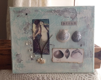 Mermaid in Love Collage Canvas Wall Art Sealife Study Mixed Media Collection