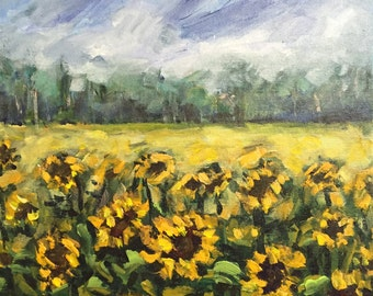 "Summer Mood  sunflowers 10""x10"" original acrylic painting on canvas"