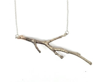 Large tree twig in bronze with a sterling silver chain