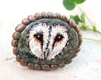 Barn Owl totems HAND PAINTED Beach Stone Rings Handmade Clay Jewelry Unique Adornments Owl Paintings Sterling Silver Adjustable Ring