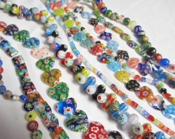 Millefiori ASSORTED COLORS SHAPES Beads 10 Strands -  Glass Floral Flowers Print Wholesale