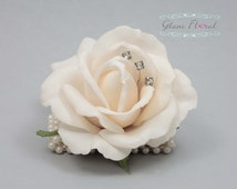 Ivory Rose Wrist Corsage . Real Touch Flowers. Caroline Rose Collection