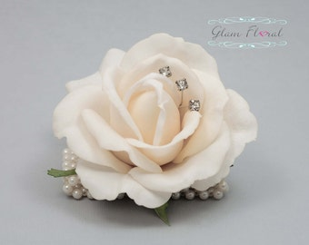 Ivory Rose Wrist Corsage- Wedding Flower- Prom Corsage- Real Touch Rose Corsage- Wrist Corsage. Caroline Rose Collection