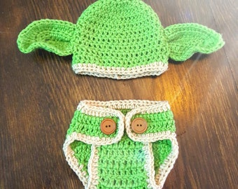 Newborn Boy Yoda Hat and Diaper Cover Set | Newborn Girl Yoda Hat & Diaper Cover Set | Baby Yoda Crochet costume | Baby Yoda Photo Prop