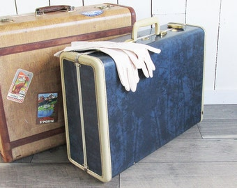 1950s Two Tone Navy Blue & Ivory Samsonite Suitcase