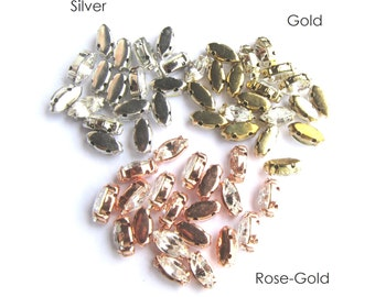 40 Rose Montees Navette 10mm x 5mm Rhinestone beads for Wedding Gown Jewelry Beaded Sash Shoes and Hair Accessories