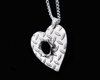 Bullet hole necklace Sterling Silver jewelry pendant Bullet necklace Diamond plate Silver necklace Bullet jewelry N-301