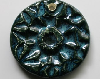 Handcrafted Ceramic Blue Floral Pendant