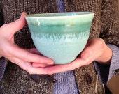 Teal blue green matcha bowl. Handmade