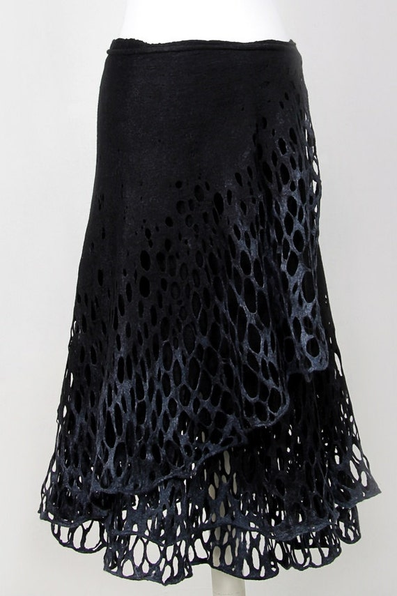 Reserved  for Desiree Felted wrap skirt black charcoal lace  Felt light luxury all season open work Regina Doseth handmade in Lithuania EU