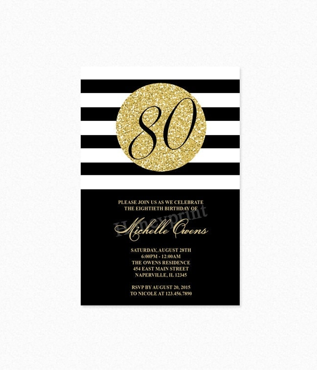 Gold 80th Birthday Party Invitation Black and White Stripes – 18th Birthday Party Invites