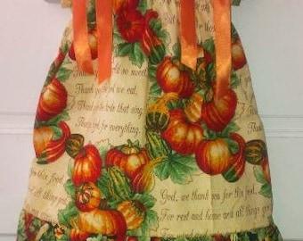 Pillowcase Dress & Pants Set Pumpkins Fall Farm Thanksgiving Poem Boutique 12/18M 24M/2T 3T/4T 5/6 Pageant