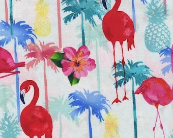 Timeless Treasures White Tropical Flamingos Fabric - 1 yard