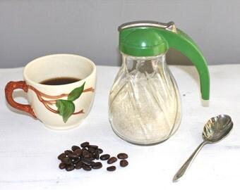Small glass pitcher sugar bowl syrup server green server
