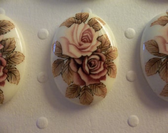 Vintage 25X18mm Glass Cabochons - Pink & Mauve Two Rose Cameo - Japanese Decal Picture Stones - Qty 4