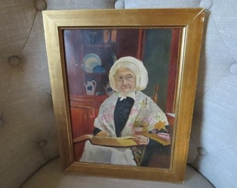 Vintage portrait oil painting old lady pine cupboard bible and soup